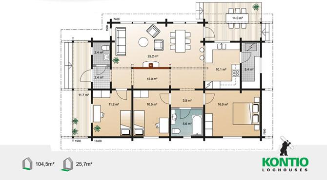Mod les et plans de la maison bois delphinium leo 104 for Maison de cedre plans