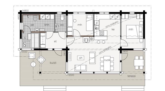 mod les et plans de la maison bois kalliosaari kontio aquitaine midi pyr n es. Black Bedroom Furniture Sets. Home Design Ideas